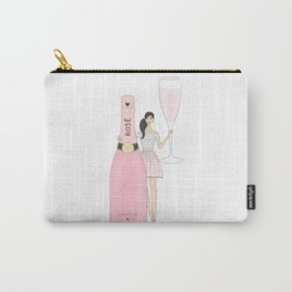 Rose Champagne Fashion Girl Black Hair Carry-All Pouch