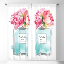 Perfume, watercolor, perfume bottle, with flowers, Teal, Silver, peonies, Fashion illustration Blackout Curtain
