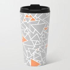 A Bazillion Triangles (Orange Gray) Metal Travel Mug