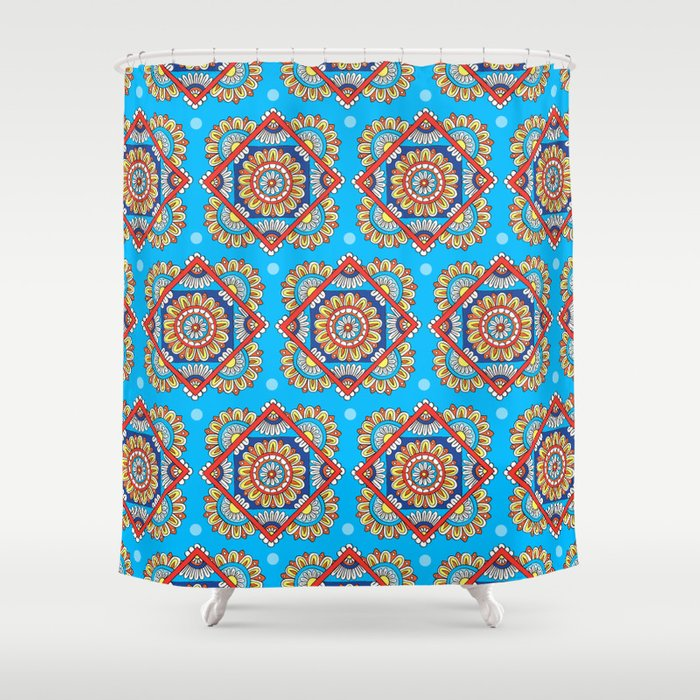 Bright Blue Diamond Floral Shower Curtain By Sarahoelerich