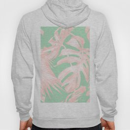 Tropical Palm Leaves Coral Pink Mint Green Hoody