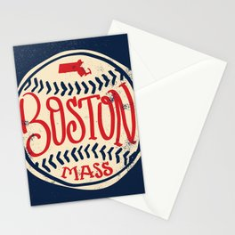 Hand Drawn Baseball for Boston with custom Lettering Stationery Cards