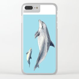 Blue Bottlenose dolphin Clear iPhone Case