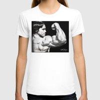 arnold T-shirts featuring Flexing Arnold by PeterPerlegas Fine Art
