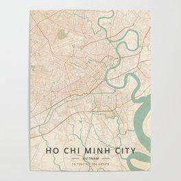 Ho Chi Minh City, Vietnam - Vintage Map Poster