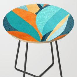 Abstract Tropical Foliage Side Table
