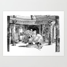 Le ménage au Temple / Sweeping the Temple's floor Art Print
