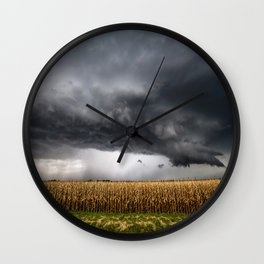 Corn Field - Storm Over Withered Crop in Southern Kansas Wall Clock