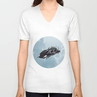 spaceship V-neck T-shirts featuring Spaceship by Design Windmill