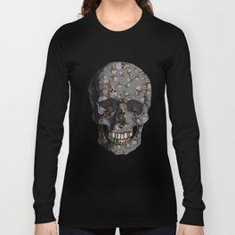 Happy Skulls Random Pattern (Gray) Long Sleeve T-shirt