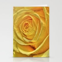 rose gold Stationery Cards featuring Gold Rose by Tracy66