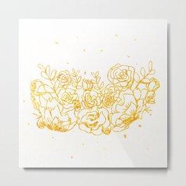 Sparkling Golden Flowers Metal Print