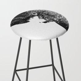 Black and White Cockatoo Illustration Bar Stool