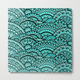 Green Wave Mandalas Metal Print