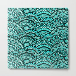 Green Wave Mandalas Metal Print