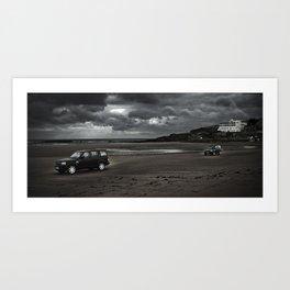 LANDROVER'S ACROSS BEACH Art Print