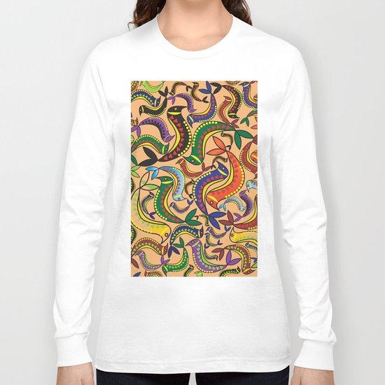 color bird pattern Long Sleeve T-shirt