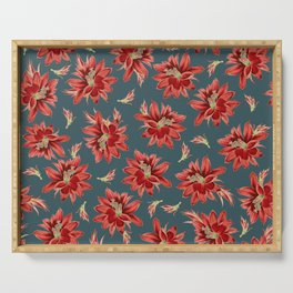 Red Christmas Cactus Flowers Dark Blue Floral Pattern Serving Tray