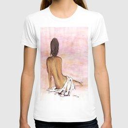 Seated female's back T-shirt