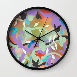 Black Butterflies Wall Clock