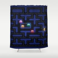 pacman Shower Curtains featuring Pacman by Foxxya