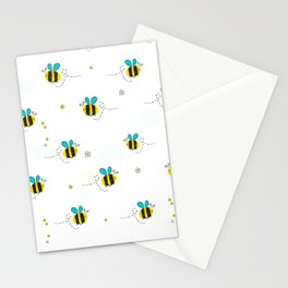 Seamless kids pattern with bee and cute flowers Stationery Cards