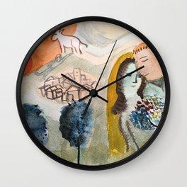 chagall watercolor Wall Clock