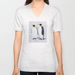 2 Emperor Penguins Unisex V-Neck