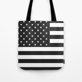 American Flag Stars and Stripes Black White Tote Bag