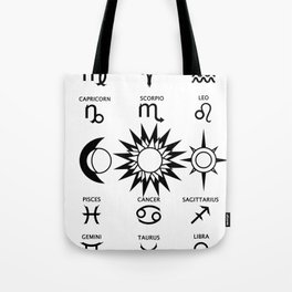 The Moon The Sun and The Stars with Zodiac Signs Tote Bag