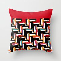 herringbone Throw Pillows featuring herringbone penguin by Sharon Turner