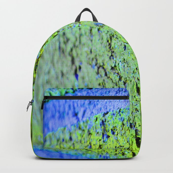 Neon Blue Brick Abstract Backpack