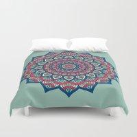 islam Duvet Covers featuring Mandala Blue by Mantra Mandala
