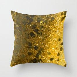 Gold Glitter Bomb Throw Pillow