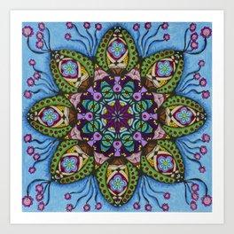 Blue Health Mandala - מנדלה בריאות Art Print