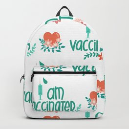 I Got Vaccinated Hearts Pattern Backpack