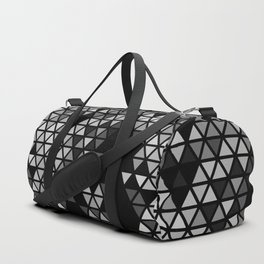 Geometric Fractal Triangles Black Noir Duffle Bag