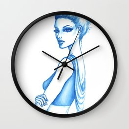 Fashion Illustration: Blue Drape Wall Clock