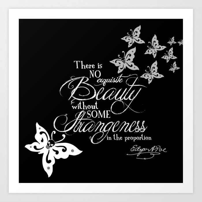 Strange Skullerflies - EA Poe Quote Art Print