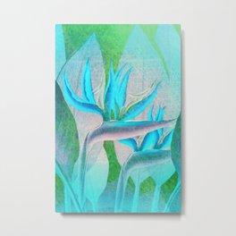Floreal - Tropical Flowers Daydream Pastel Mint Metal Print