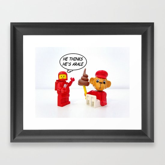"space lego meeting the ""arale wannabe"" monkey Framed Art Print"