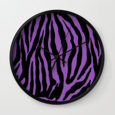 Purple Zebra Background Wall Clock