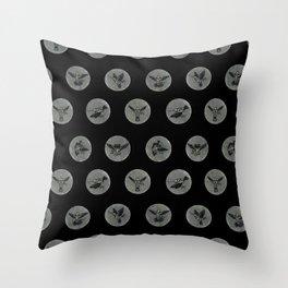 Hummingbird Skeleton Polka Dot Print Throw Pillow
