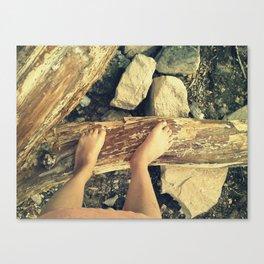 Feet on Wood Canvas Print