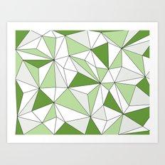 Geo - gray, green and white. Art Print