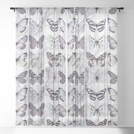 Black and white marble butterflies Sheer Curtain