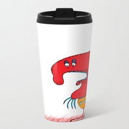Red lovely boogy monster, red, grass, flowers Travel Mug