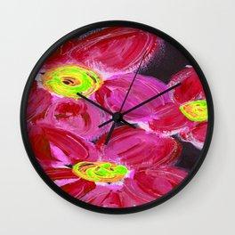Fuchsia Floral Wall Clock