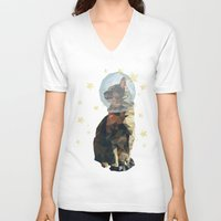 space cat V-neck T-shirts featuring Space Cat. by Dani Does Art