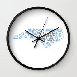 UNC North Carolina State - Blue and Gray University of North Carolina Design Wall Clock